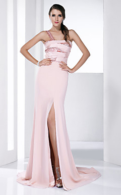 Chiffon Stretch Satin Sheath/Column One Shoulder Court Train Evening Dress