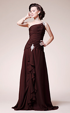 A-line One Shoulder Sweep/ Brush Train Chiffon Mother of the Bride Dress