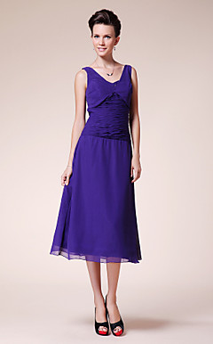 A-line V-neck Tea-length Chiffon Mother of the Bride Dress