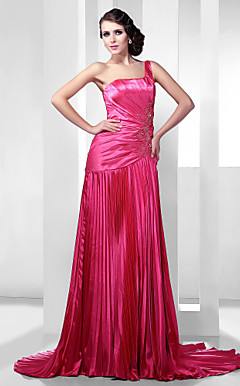 A-line One Shoulder Court Train Stretch Satin Evening Dress