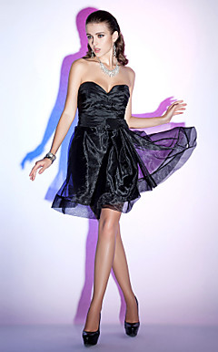 A-line Sweetheart Knee-length Taffeta Organza Cocktail Dress