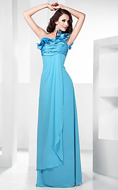 Sheath/Column One Shoulder Empire Floor-length Chiffon Evening Dress