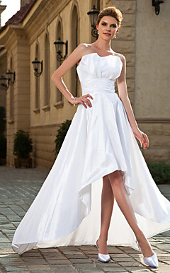 A-line Strapless Asymmetrical Taffeta Wedding Dress