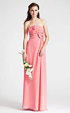 Sheath/Column Strapless Floor-length Ruched Chiffon Bridesmaid Dress