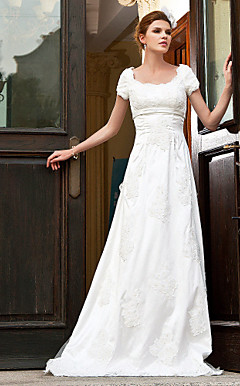A-line Empire Scoop Sweep/ Brush Train Organza Over Satin Wedding Dress