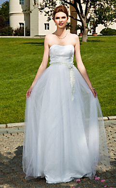 A-line Sweetheart Floor-length Tulle  Elastic Woven Satin Wedding Dress