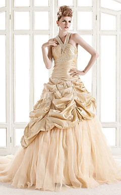 A-line V-neck Court Train Taffeta Organza Wedding Dress