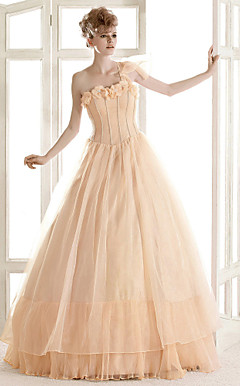 A-line One Shoulder Floor-length Organza Wedding Dress