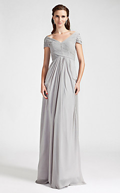Sheath/Column Off-the-shoulder  Floor-length Chiffon Bridesmaid Dress