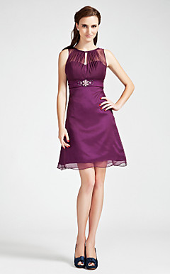 A-line Bateau  Knee-length  Chiffon Bridesmaid Dress