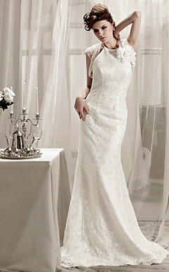 Trumpet/Mermaid Halter Sweep/Brush Train Lace Wedding Dress With A Wrap