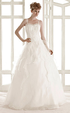A-line Spaghetti Straps Floor-length Organza Wedding Dress