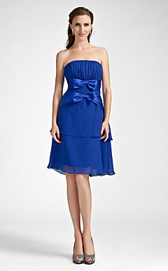 Sheath/Column Strapless Knee-length  Chiffon Elastic Woven Satin Bridesmaid Dress
