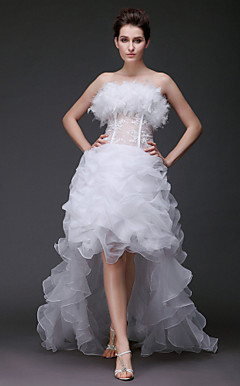 Ball Gown Strapless Asymmetrical Feathers/ fur Organza Wedding Dress