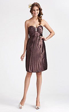 Sheath/ Column Strapless Knee-length Taffeta Bridesmaid Dress