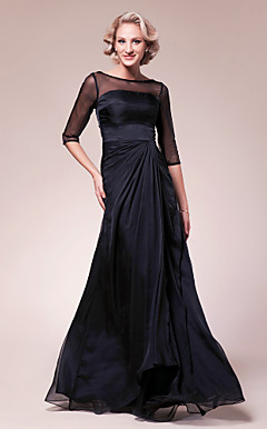 A-line Bateau Floor-length Chiffon Mother of the Bride Dress