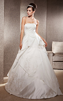 A-line Strapless Sweep/ Brush Train Satin Lace Wedding Dress