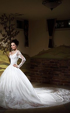 Ball Gown V-neck Long Sleeves Chapel Train Satin Wedding Dress