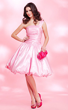 A-line One Shoulder Knee-length Taffeta Cocktail Dress