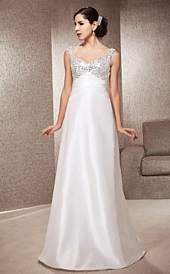 A-line Sweetheart Floor-length Sequined Satin Wedding Dress