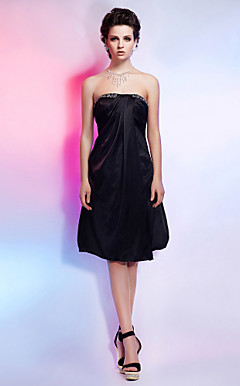 A-line Strapless Knee-length Charmeuse Cocktail Dress