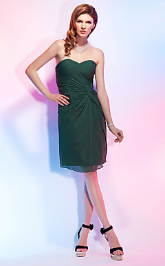 Sheath/Column Sweetheart Knee-length Chiffon Cocktail Dress