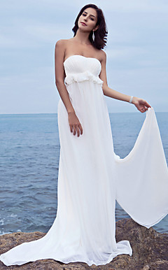 Sheath/Column Sweetheart Chiffon Backless Court Train Wedding Dress