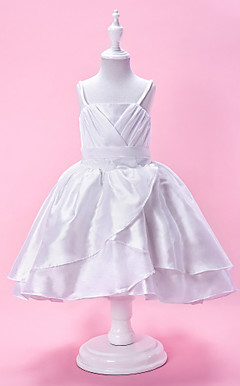 A-line Spaghetti Strap Knee-Length Taffeta Flower Girl Dress