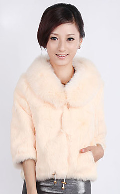 Shawl Collar 3/4 Sleeve Rabbit Fur Wedding Jacket With Belt (More Colors)