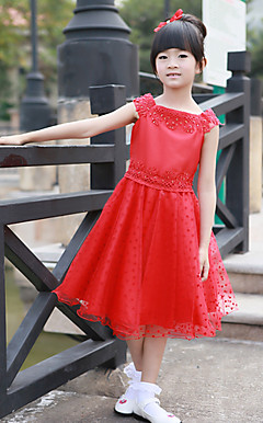 A-line Square Knee-length Polyester And Cotton Flower Girl Dress (More Colors)