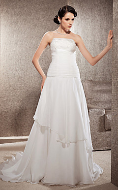 A-line Strapless Court Train Chiffon Wedding Dress
