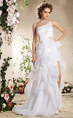 Two-In-One Organza Split Removable Skirt One Shoulder Wedding Dress