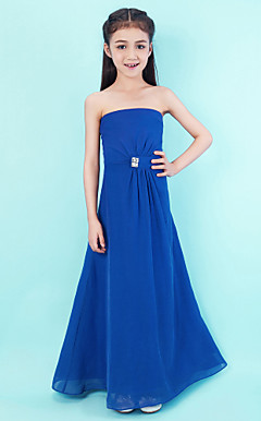 A-line Strapless Floor-length Chiffon Junior Bridesmaid Dress