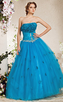 Ball Gown Spaghetti Straps Floor-length Tulle Taffeta Evening Dress