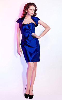Sheath / Column Sweetheart Knee-length Taffeta Cocktail Dress