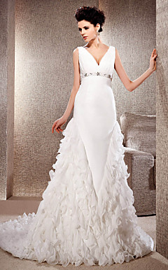 A-line V-neck Court Train Satin And Chiffon Wedding Dress