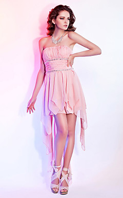 A-line Strapless Short / Mini Chiffon Cocktail Dress