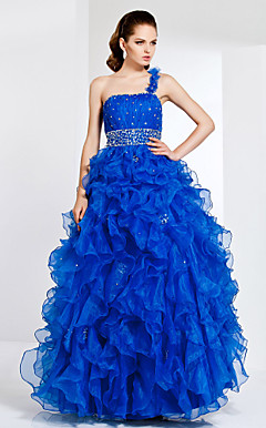 A-line Strapless Floor-length Organza Evening/Prom Dress