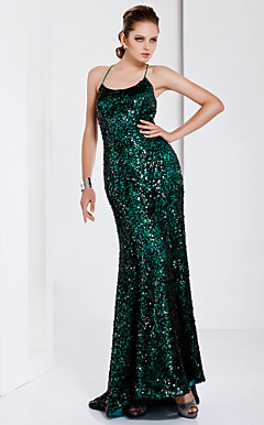 Trumpet/ Mermaid Spaghetti Straps Sweep/ Brush Train Sequined Evening Dress