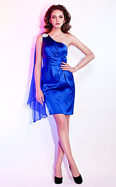 Sheath / Column One Shoulder Short / Mini Satin Chiffon Cocktail Dress