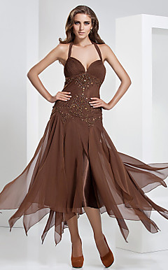 A-line Halter Tea-length Chiffon Evening Dress