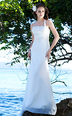 Elegant Sheath/Column One Shoulder Court Train Chiffon Wedding Dress