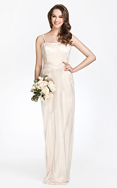 Spaghetti Straps Sheath/Column Floor-length Tulle Over  Charmeuse Bridesmaid Dress