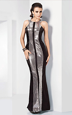 Trumpet/Mermaid Jewel Floor-length Stretch Satin Sequined Evening Dress inspired by Judy Greer at the 84th Oscar
