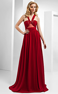 A-line Straps Floor-length Chiffon Tencel Evening Dress