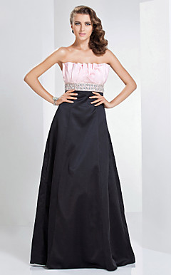 A-line Strapless Floor-length Satin Evening Dress
