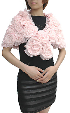 Rabbit Fur / Chiffon With Flowers Party / Evening Shawl / Wrap (More Colors)