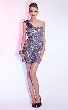 Sheath/Column One Shoulder Short/Mini Sequined Cocktail Dress