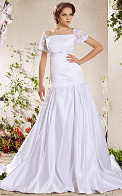 A-line Square Chapel Train Satin Weeding Dress
