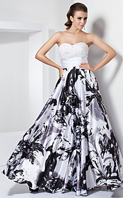 A-line Sweetheart  Floor-length Stretch Satin Evening Dress